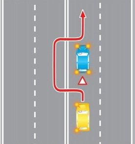 Выезд в нарушение требований, предписанных разметкой проезжей части дороги, на полосу, предназначенную для встречного движения, при объезде препятствия.